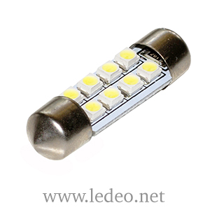 2 ampoules à LED  navettes 36mm c5w  festoon  à 8 Led  smd
