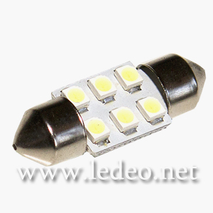2 ampoules navettes 31mm c5w  festoon  à 6 Led  smd